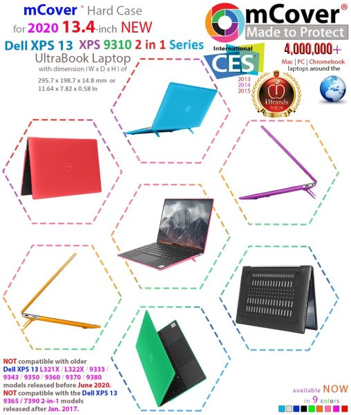 """mCover Hard Shell Case for 13"""" 2020 Dell XPS 13 9310 2 In 1 model Ultrabook laptop"""