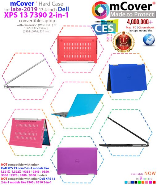 """mCover Hard Shell Case for 13"""" Dell XPS 13 7390 2 In 1 model Ultrabook laptop"""