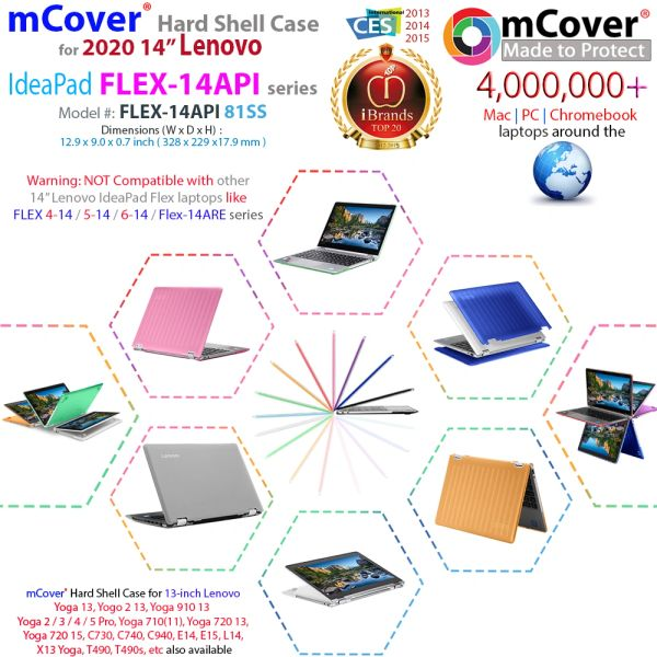 """mCover Hard Case for 14"""" Lenovo IdeaPad Flex 5-14IIL05 (81YH0070XX) / 14ITL05 Convertible Laptop (NOT Compatible with Flex 5 14-ARE05 Series) Computers (H x W x D) 321.57 x 217.5 x 17.9-20.4 mm"""