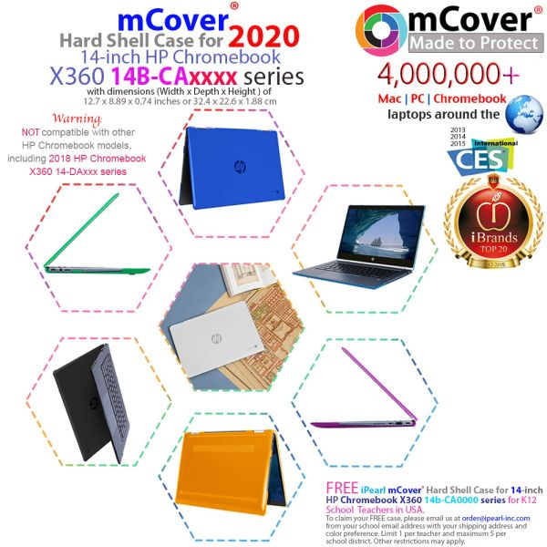 "mCover Hard Shell Case for 2020 14"" HP Chromebook X360 14b-CAxxxx Series laptops (Not compatible with HP Chromebook 14C-CAxxxx Series)"