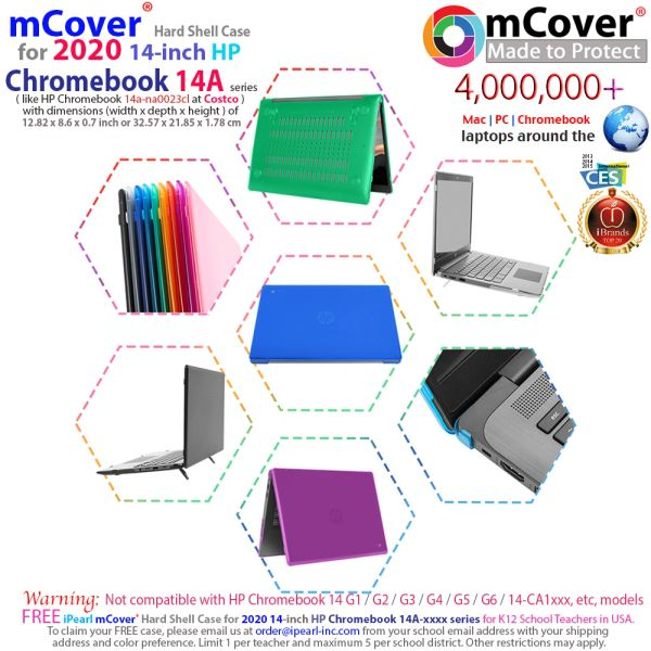 "mCover Hard Shell Case for 2020 14"" HP Chromebook 14a-NAxxxx Series"