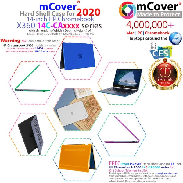 "mCover Hard Shell Case for late-2020 14"" HP Chromebook X360 14C-caxxxx Series laptops (Not compatible with HP Chromebook 14B-CAxxxx Series)"
