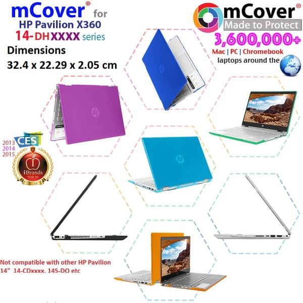 """mCover Hard Shell Case for 14"""" HP Pavilion 14-DHxxxx Series laptops (Not compatible with ANY other HP 14"""")"""