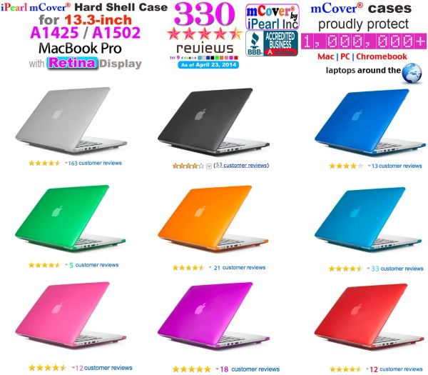 "mCover Hard Shell Case for Macbook Pro 13.3"" with retina display ( Model: A1502 / A1425 without DVD player)"