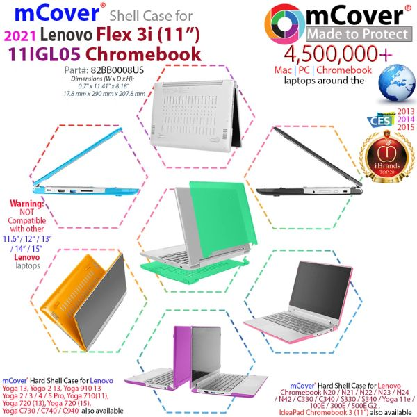 """mCover Hard Shell Case Only Compatible with 2021 11.6"""" Lenovo Flex 3 or 3i 2-in-1 Chromebook 2021 Laptop (Not fit IdeaPad 11.6"""" Chromebook 3)"""