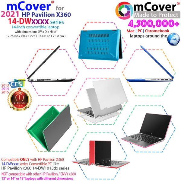 """mCover Hard Shell Case for 14"""" HP Pavilion X360 14-DWxxxx Series laptops (Not compatible with ANY other HP 14"""") Size 32.4 x 22.1 x 1.8 cm ( Not for HP Pavilion 14-DQ/14-DV/14-CD/14-DH series)"""