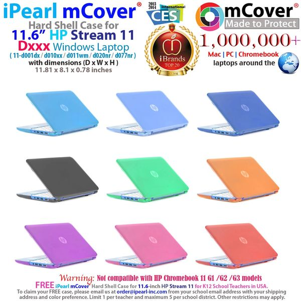 "mCover Hard Shell Case for 11.6"" HP Stream 11 Dxxx Windows laptops"