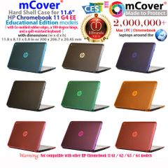 "mCover Hard Shell Case for 11.6"" HP Chromebook 11 G4 / G5 EE ( Educational Edition series, with Co-molded rubber edges, a 180-degree hinge, and a spill-resistant keyboard )"