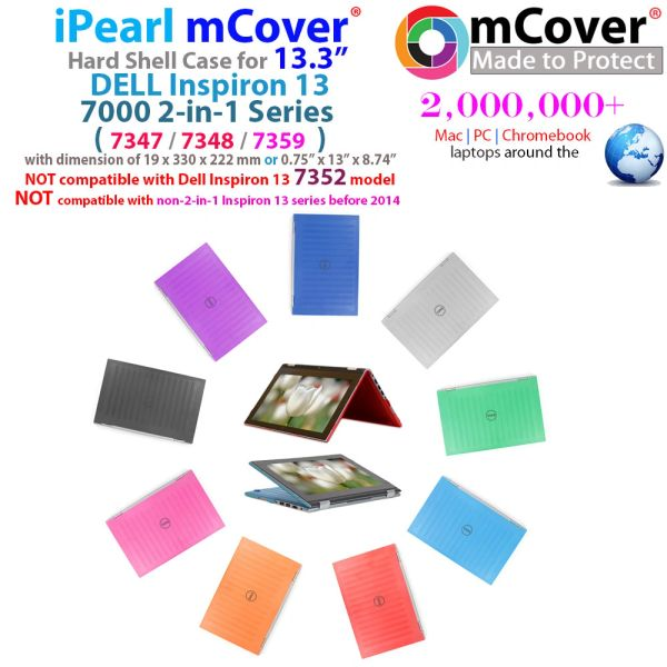 """mCover Hard Shell Case for 13.3"""" Dell Inspiron 13 Only for (7359/ 7347 / 7348) 2-in-1 Convertible Laptop (**Not for 7352/7368 model**)"""