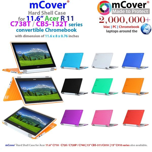 "mCover Hard Shell Case for 11.6"" Acer Chromebook R11 CB5-132T / C738T series ( NOT compatible with Acer C720/C730/C740/CB3-111/CB3-131 series ) Convertible Laptop"
