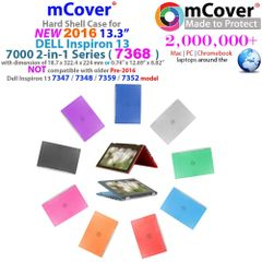 """NEW mCover Hard Case for new 2016 13"""" Dell Inspiron 13 7368 2-in-1 laptop"""