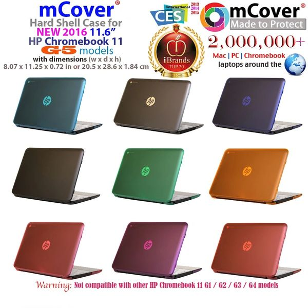 "mCover Hard Shell Case for 2016 11.6"" HP Chromebook 11 G5 laptops ( NOT compatible with older HP Chromebook 11 G1 / G2 / G3 / G4 / G4 EE models)"