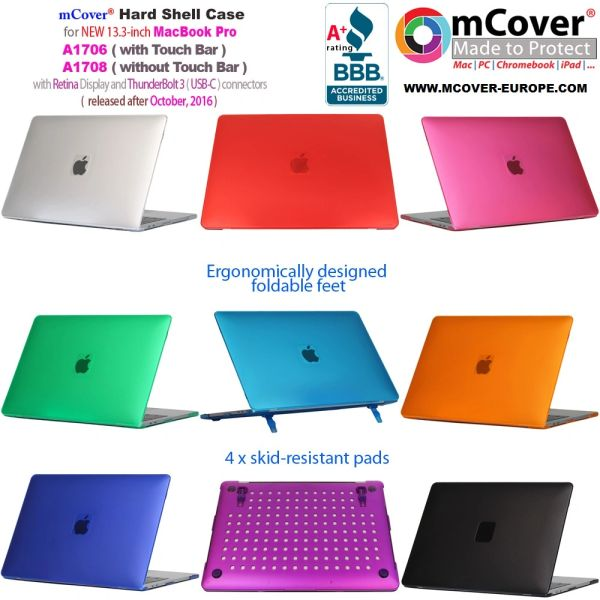 mCover Hard Shell Case for 2018/2017/2016 13-inch Model A1989 / A1706 / A1708 MacBook Pro (with or without Touch Bar, thunderbolt 3 / USB-C ports only)