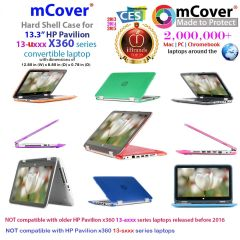 "mCover Hard Shell Case ONLY for 13.3"" HP Pavilion x360 13-uxxx series Convertible Laptop"