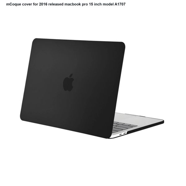 "mCoque Black matte hard case for NEW 2016 15.4"" Apple MacBook Pro ( model no A1707, with Touch Bar ) with a FREE transparent keyboard skin (model:A1707)"