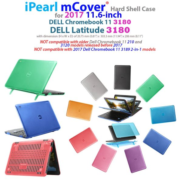 "mCover Hard Shell Case for 2017 11.6"" Dell Chromebook 11 3180 or Latitude 3180 series Laptop (NOT compatible with 210-ACDU / 3120 / 3189 series)"
