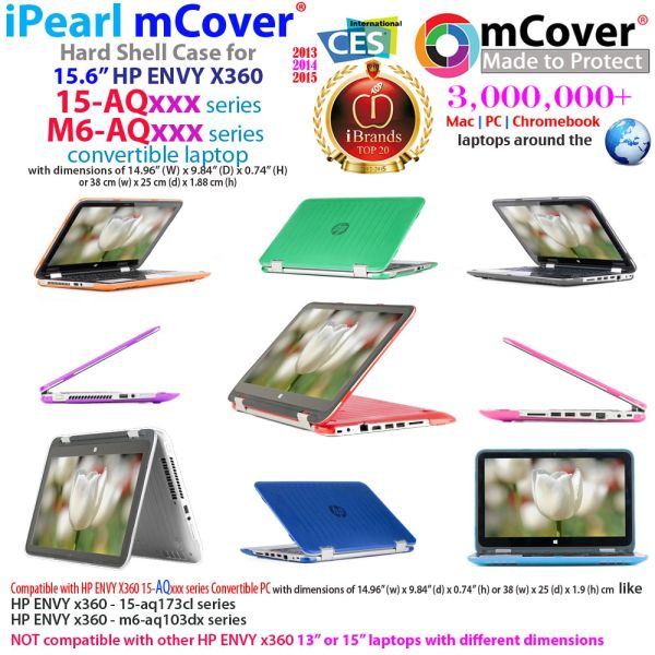 "mCover Hard Shell Case for 15.6"" HP ENVY x360 15 Inch (39.6 cm) 15-aqxxx / 15-arxxx / 15-asxxx series Laptop (**Not for HP ENVY x360 15-bxxxx series, like 15-bp107nf, 15-bq052na etc**)"