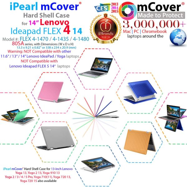 """mCover Hard Case for 14"""" Yoga 510 AST or 14"""" Lenovo Ideapad FLEX 4 14"""" ( 4-1470 / 4-1435 / 4-1480) (**NOT compatible with newer 14-inch FLEX 5-1470 / Yoga 520 series **) laptop computers"""