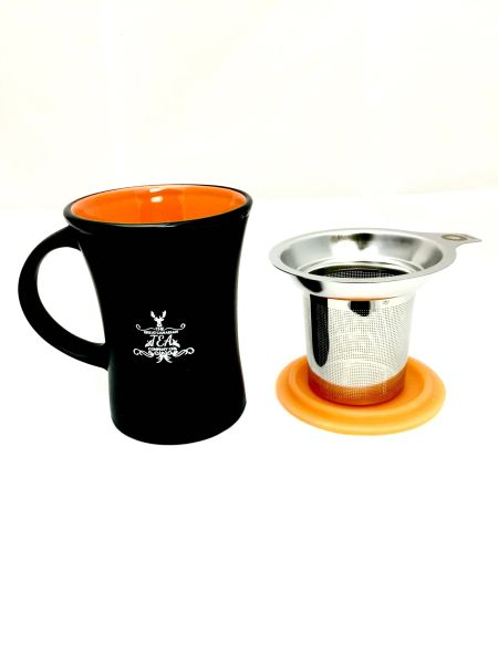 Ceramic Mug with stainless infuser and silicone lid