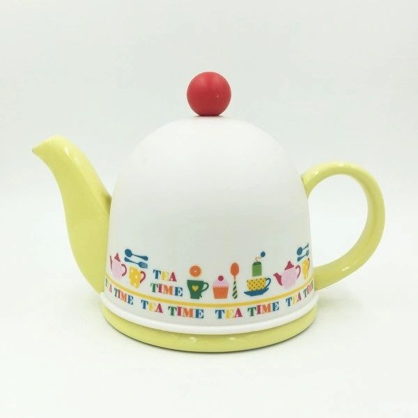 Cozy Porcelain Tea Pot with Infuser and Pot Warmer(Yellow)