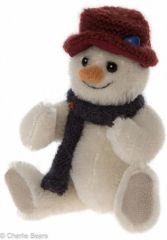 ALMOST GONE! HALF PRICE Charlie Bears Minimo Mohair Christmas Keyring SHIVER Snowman 12cm (Limited to 1200 Worldwide)