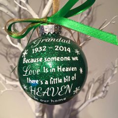 Heaven Memorial Bauble with Dates (Glitter)