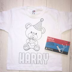 Personalised Birthday Bear Colouring T'Shirt