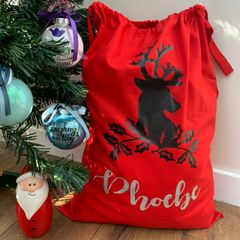 Personalised Red Reindeer Sack