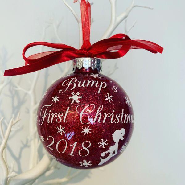 b720c57b462f5 Bump's First Christmas Glitter Bauble Ornament | Georgina Kay Designs
