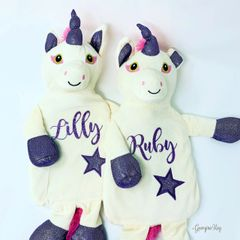 Personalised Unicorn Hot Water Bottle (Purple or Gold)