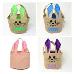 Personalised Easter Bunny Burlap Bag (Choice of Colours)