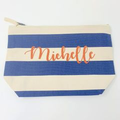 Personalised Nautical Blue Stripe Accessory Bag