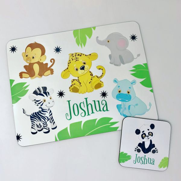 Kids Jungle Zoo Placemat and Coaster Set