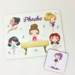 Girls Gymnastics Themed Placemat and Coaster Set