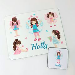 Personalised Butterfly Girl Placemat and Coaster Set