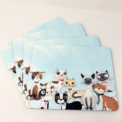 Set of 4 Cat themed Placemats