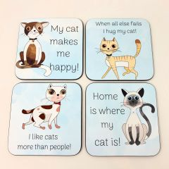 Set of 4 Cat themed coasters