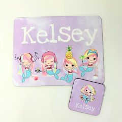 Personalised Mermaid Themed Placemat and Coaster Set