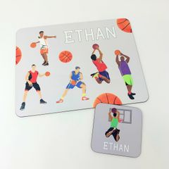 Personalised Basketball themed placemat and coaster set