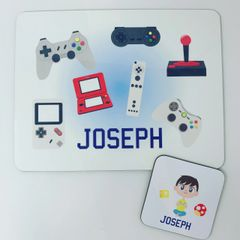 Gamer themed placemat and coaster set