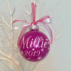 Personalised Name & Year Bauble (Glitter)