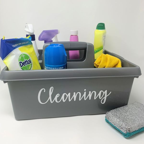 Personalised Large Grey Cleaning Caddy Carry Case