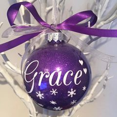 Personalised Name Bauble (Glitter - Sweetheart Design)