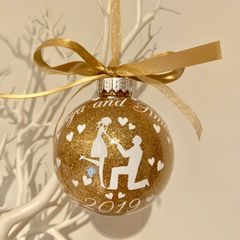 Personalised Engagement Bauble (Glitter)