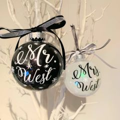 Personalised Mr & Mrs baubles (set of 2)