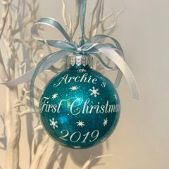 Personalised First Christmas Bauble (Glitter)