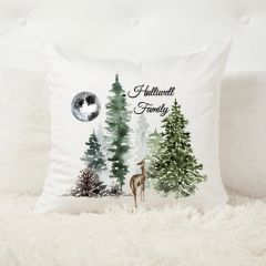 Personalised Winter Forest Moon Christmas Cushion