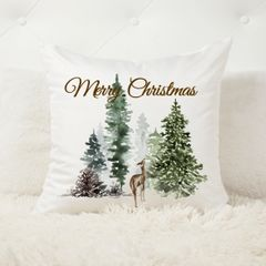 Merry Christmas Winter Forest Cushion Cover and Insert