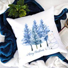 Merry Christmas Polar Bear Cushion