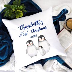 Penguins First Christmas Cushion